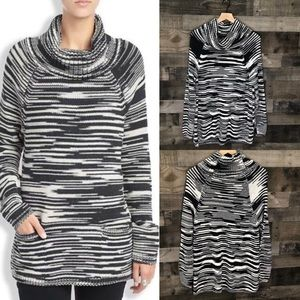 Lucky Brand Space Dye Cowl Pullover Chunky Sweater